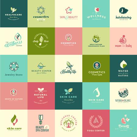 productos naturales: Conjunto de dise�o plano de belleza y naturaleza iconos de productos naturales, cosm�ticos, cuidado de la salud, centro de belleza, spa y bienestar Vectores