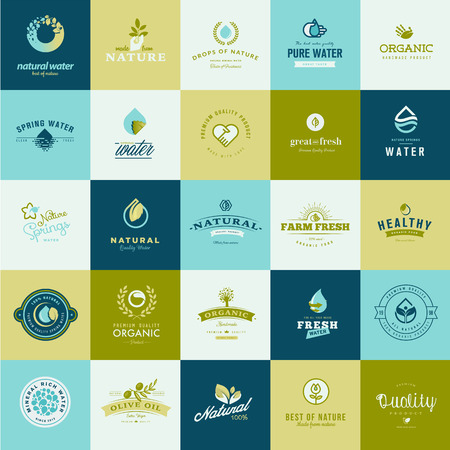leaf water drop: Set of flat design icons for nature, food and drink