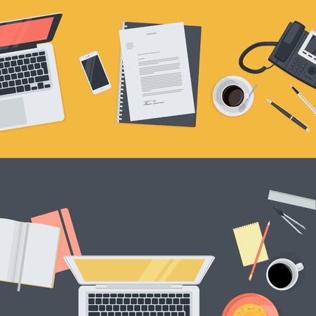 corsi di formazione: Set di piatti concetti design illustrazione per l'istruzione on-line, la formazione del personale, corsi, riqualificazione, specializzazione. Concetti per banner web e materiale promozionale. Vettoriali