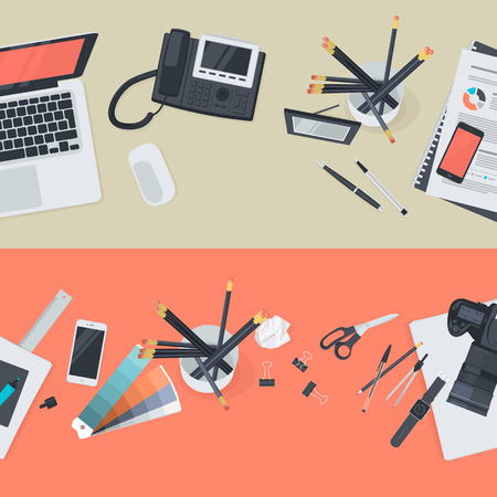 Set of flat design illustration concepts for creative workspace and business workspace. Concepts for web banners and promotional materials. Vector