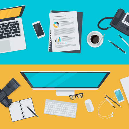 business equipment: Set of flat design illustration concepts for advertising, business, e-commerce, social network. Concepts for web banners and promotional materials.