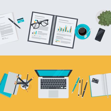 articulos oficina: Conjunto de planos conceptos de diseño de ilustración para los negocios y las finanzas. Conceptos para la web banners y materiales promocionales.