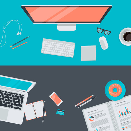 Set of flat design illustration concept of modern workspace, top view. Concepts for web banners and promotional materials. Vector