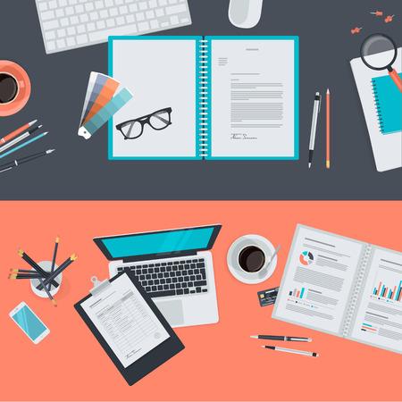 創造的なプロジェクト、グラフィック デザインの開発、ビジネス、金融、電子商取引のための平らな設計図概念のセットです。Web バナー広告や販促