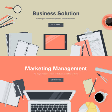 blog design: Set of flat design illustration concepts for business and marketing management. Concepts for web banners and promotional materials.
