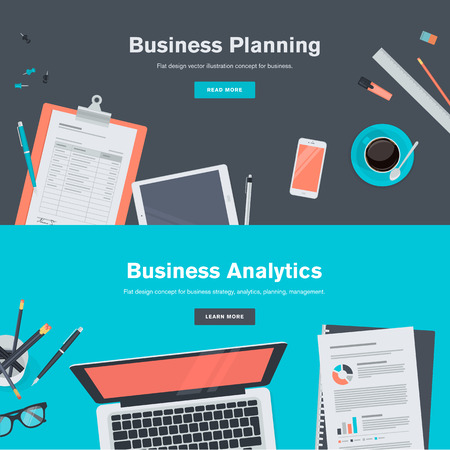 blog: Set of flat design illustration concepts for business planning and analytics. Concepts for web banners and promotional materials.