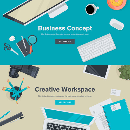 desktop computers: Set of flat design illustration concepts for business and creative workspace. Concepts for web banners and promotional materials.