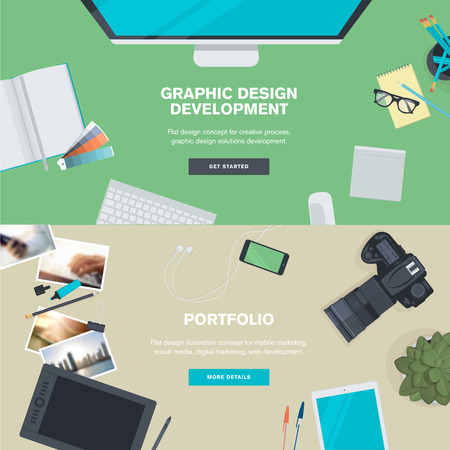 Set of flat design illustration concepts for graphic design development and portfolio. Concepts for web banners and promotional materials. Vettoriali