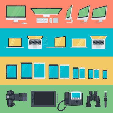 pen tablet: Set of flat design icons of electronic devices. Icons for computer, laptop, tablet, mobile phone, camera, pen tablet, video phone, binoculars and smartwatch.