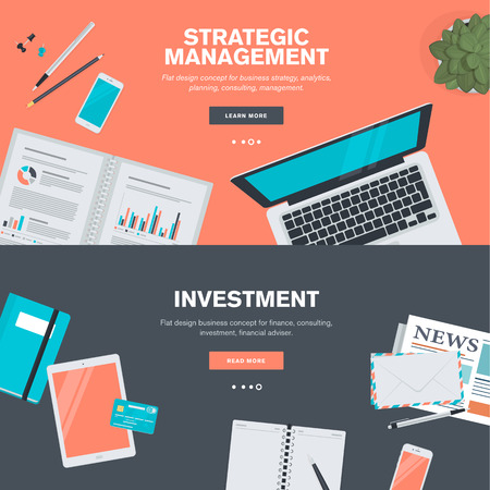 Set of flat design illustration concepts for strategic management and investment. Concepts for web banners and promotional materials. 向量圖像