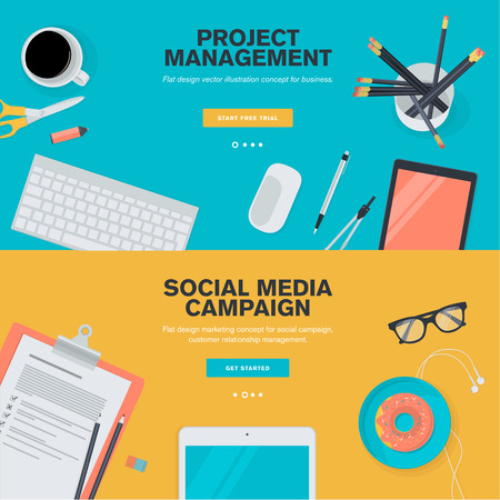 business project: Set of flat design illustration concepts for project management and social media campaign. Concepts for web banners and promotional materials. Illustration