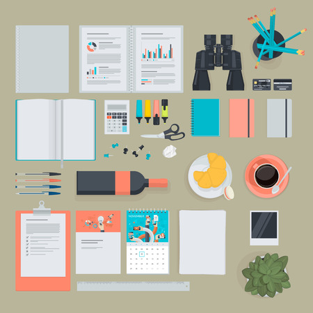 used items: Set of flat design items for business, finance, marketing. The set can be used for website design, print templates, presentation templates, promotional materials, infographics, web and mobile phone services and app.