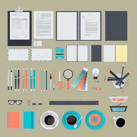 background stationary: Set of flat design items for business, finance, marketing, graphic design development, project management. The set can be used for website design, print templates, presentation templates, infographics, web and mobile phone services and apps.