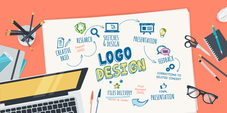 Flat design illustration concept for logo design creative process. Concept for web banner and promotional material.  イラスト・ベクター素材