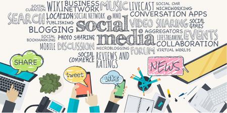 Diseño plano ilustración concepto de medios de comunicación social. Concepto para el banner web y material promocional.