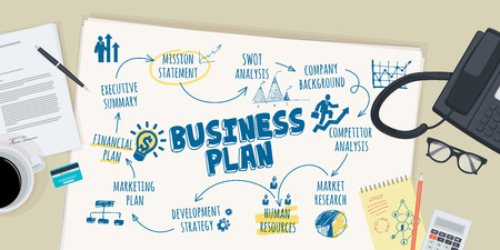 business  concepts: Flat design illustration concept for business plan. Concept for web banner and promotional material.