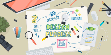 office products: Flat design illustration concept for creative design process. Concept for web banner and promotional material. Illustration
