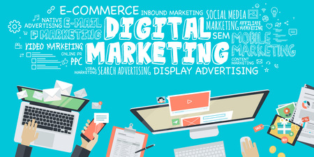 digital marketing: Flat design illustration concept for digital marketing. Concept for web banner and promotional material.