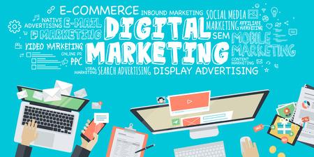 digitální: Plochý design ilustrace koncepce pro digitální marketing. Koncept pro web banner a propagační materiál. Ilustrace