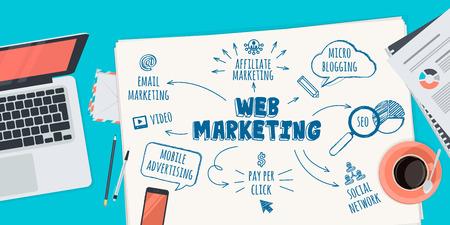 Web マーケティングのフラットなデザイン図の概念。Web バナーや販促のための概念。  イラスト・ベクター素材