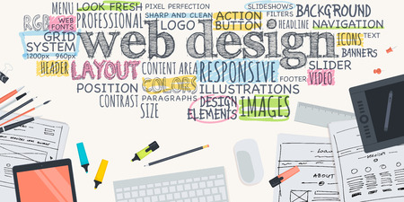 Flat design illustration concept for web design. Concept for web banner and promotional material. Vectores