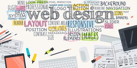articulos oficina: Dise�o plano Ilustraci�n de concepto para el dise�o web. Concepto para el banner web y material promocional. Vectores
