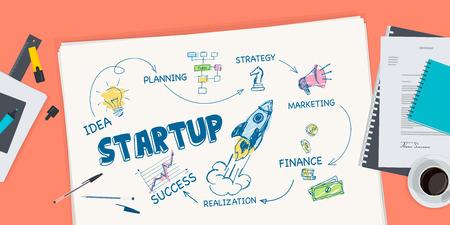 market research: Flat design illustration concept for startup. Concept for web banner and promotional material. Illustration