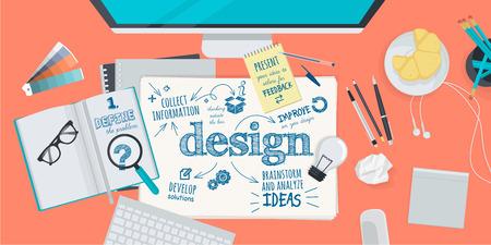 設計プロセスの平らな設計図概念。Web バナー、販促資料の概念。  イラスト・ベクター素材