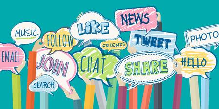 interaccion social: Dise�o plano ilustraci�n concepto de red social. Concepto para el banner web y material promocional.