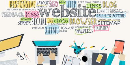 Flat design illustration concept for website development. Concept for web banner and promotional material. Vettoriali