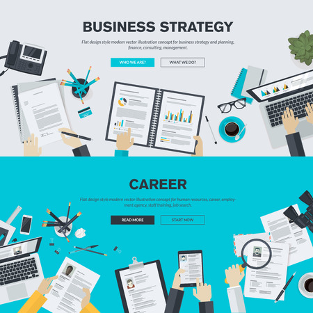job search: Flat design illustration concepts for business, finance, consulting, management, human resources, career, employment agency, staff training. Concepts for background, web banner, promotional materials, poster, presentation templates, advertising.