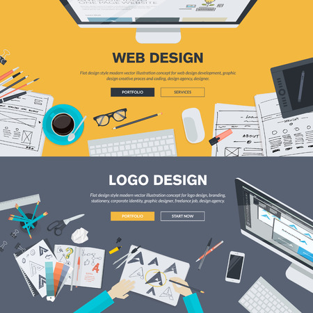 companies: Flat design illustration concepts for web design development, design, graphic design, design agency. Concepts can be used for background, web banner, promotional materials, poster, presentation templates, advertising and printed materials.