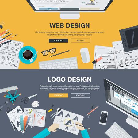 Piso conceptos de diseño de ilustración para el desarrollo web diseño, diseño, diseño gráfico, agencia de diseño. Los conceptos pueden ser utilizados para el fondo, bandera de la tela, materiales promocionales, carteles, plantillas de presentación, publicidad y materiales impresos.