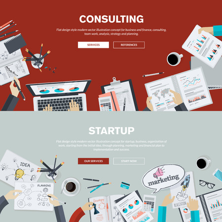 consulting team: Flat design illustration concepts for business, finance, consulting, management, team work, analysis, strategy and planning, startup. Concepts can be used for background, web banner, promotional materials, poster, presentation templates, advertising.