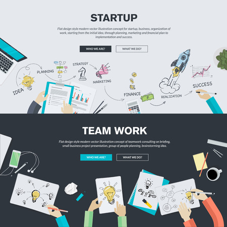 work on computer: Flat design illustration concepts for business, finance, consulting, management, team work, analysis, strategy and planning, startup. Concepts can be used for background, web banner, promotional materials, poster, presentation templates, advertising .