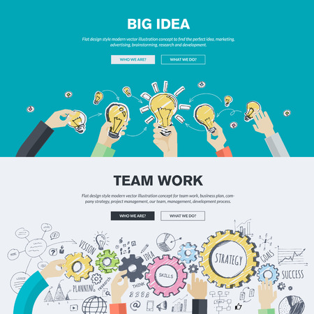 management process: Flat design illustration concepts for big idea, marketing, brainstorming, business, team work, company strategy, project management. Concepts can be used for background, web banner, promotional materials, poster, presentation templates, advertising.