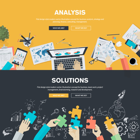 business solution: Flat design illustration concepts for business analysis, strategy and planning, finance, consulting, management, team work, project management, brainstorming, research and development. Concepts web banner and printed materials. Illustration
