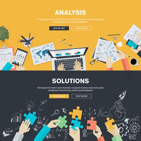 Płaska konstrukcja ilustracja koncepcje analizy biznesowej, strategii i planowania, finansów, doradztwa, zarządzania, pracy zespołowej, zarządzania projektami, burzy mózgów, badań i rozwoju. Banner pojęcia www i materiały drukowane.