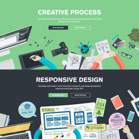 web layout: Flat design illustration concepts for creative process, graphic design, web design development, responsive web design, coding, SEO, design agency. Concepts web banner and printed materials. Illustration