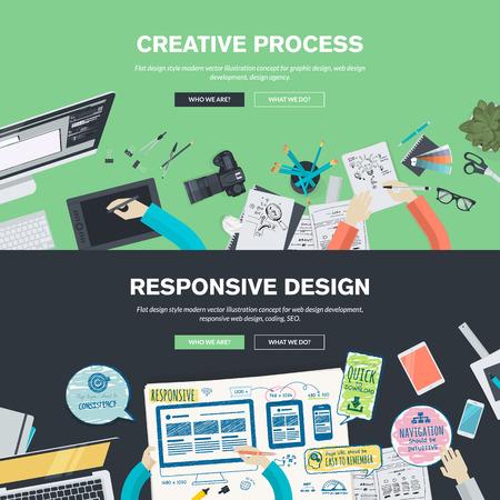 Platte ontwerp illustratie concepten voor creatieve proces, grafische vormgeving, webdesign ontwikkeling, responsieve web design, codering, SEO, ontwerpbureau. Concepten web banner en gedrukt materiaal.