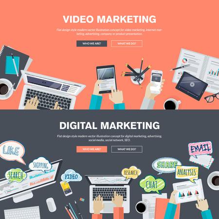 mercadotecnia: Conjunto de planos conceptos de diseño de ilustración para vídeo y marketing digital. Conceptos para el banner web y material promocional.