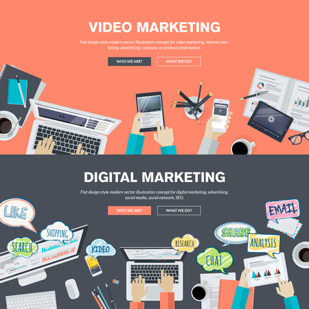 video chat: Set of flat design illustration concepts for video and digital marketing. Concepts for web banner and promotional material. Illustration