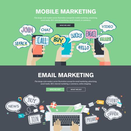 携帯電話と e メール マーケティングのための平らな設計図概念のセットです。Web バナー、販促資料の概念。