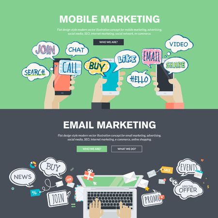 mercadotecnia: Conjunto de planos conceptos de diseño de ilustración para el marketing móvil y correo electrónico. Conceptos para el banner web y material promocional.