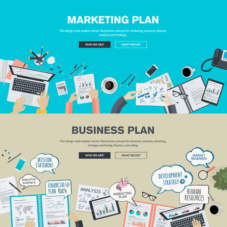 redes de mercadeo: Conjunto de planos conceptos de diseño ilustración para el plan de negocio y plan de marketing. Conceptos para el banner web y material promocional. Vectores