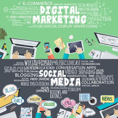 mercadotecnia: Conjunto de diseño plano ilustración conceptos de marketing digital y social media. Conceptos para el banner web y material promocional.