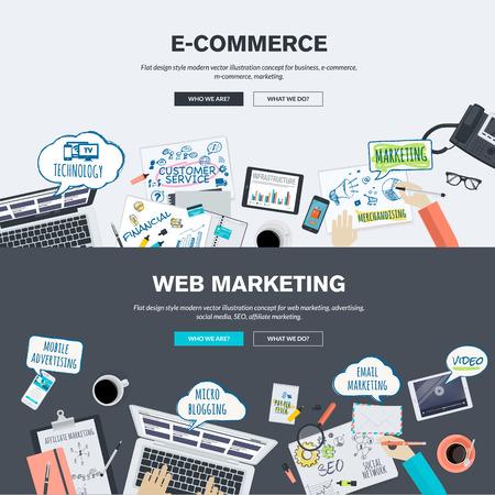 전자 상거래 및 웹 마케팅 플랫 디자인 일러스트 레이 션 개념의 집합입니다. 웹 배너와 홍보 자료에 대한 개념. 일러스트