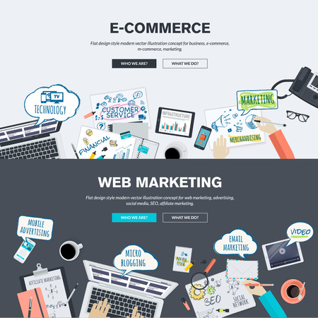 web marketing: Set of flat design illustration concepts for e-commerce and web marketing. Concepts for web banner and promotional material.