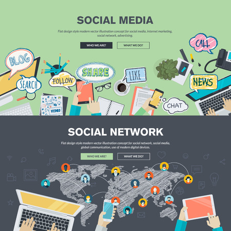 social network service: Set of flat design illustration concepts for social media and social network. Concepts for web banner and promotional material.