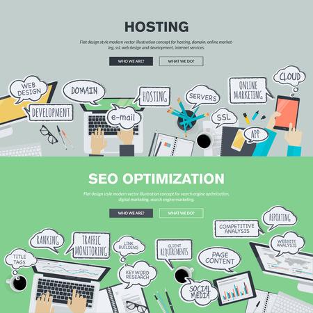 Set flache Design, Illustration Konzepte für das Hosting und Suchmaschinenoptimierung. Konzepte für Web-Banner und Werbematerial.
